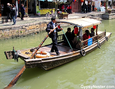 Boat on the canals of the water town of Zhujiajiao, China near Shanghai