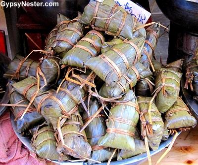 Zongzi - rice and meat wrapped in bamboo, lotus, or banana leaves in Zhujiajiao, China