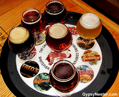 Sampler beer tray at the Black Star Draught House in Whitefish