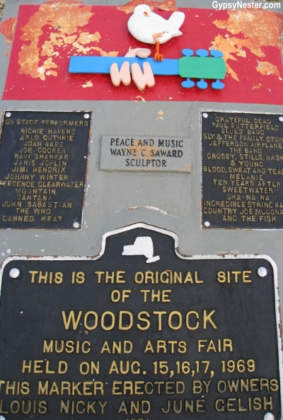 The plaque commemorating Woodstock in New York