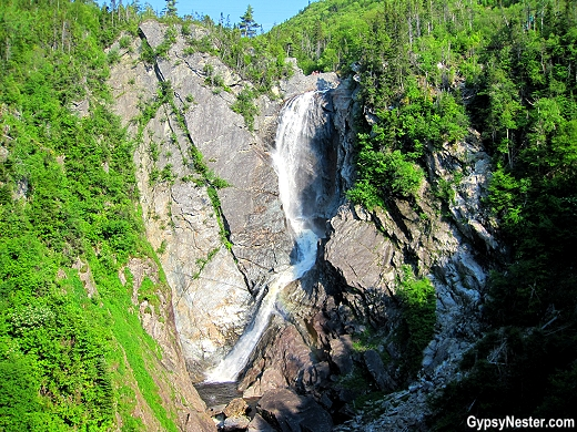 Waterfall view while zip lining in Newfoundland with Marble Zip Tours