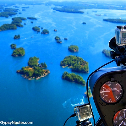 Flying above the 1000 Islands of Ontario, Canada in a helicopter!