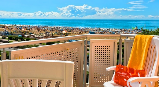 View from the balcony at Hotel Ambassador in Bibione, Italy
