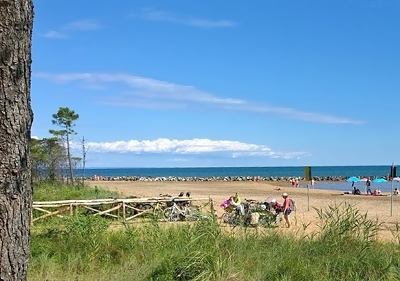 The beach at at Hotel Ambassador in Bibione, Italy
