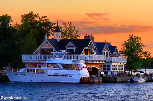Some of the homes in the 1000 Islands take up every inch of the island!