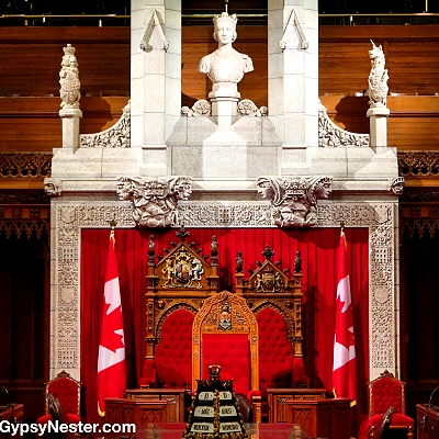 The throne upon which the Queen sits when attending Parliment in Ottawa, Ontario, Canada